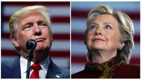 U.S. presidential candidates Donald Trump and Hillary Clinton attend campaign events in a combination of file photos