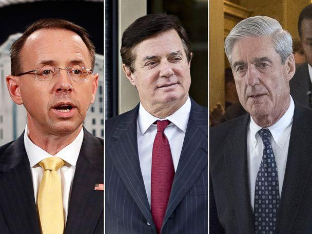 PHOTO: Deputy Attorney General Rod Rosenstein, speaks to the media, Feb. 16, 2018, in Washington. Paul Manafort walks out of the U.S. Courthouse in Washington, Nov. 6, 2017. Former FBI Director Robert Mueller departs Capitol Hill on June 21, 2017. (AP/Getty Images)