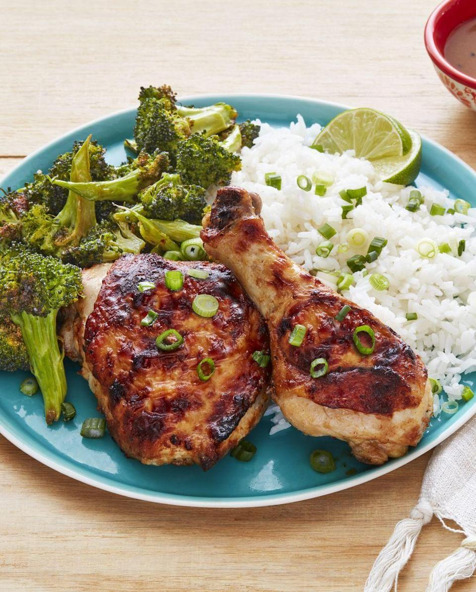 """<p>Sometimes a roasted chicken dinner is just what you're craving. This spicy <a href=""""https://www.thepioneerwoman.com/food-cooking/meals-menus/g32934608/sheet-pan-dinner-recipes/"""" rel=""""nofollow noopener"""" target=""""_blank"""" data-ylk=""""slk:sheet-pan recipe"""" class=""""link rapid-noclick-resp"""">sheet-pan recipe</a> will do the trick!</p><p><strong><a href=""""https://www.thepioneerwoman.com/food-cooking/recipes/a32629376/sheet-pan-spicy-peanut-chicken-and-broccoli-recipe/"""" rel=""""nofollow noopener"""" target=""""_blank"""" data-ylk=""""slk:Get the recipe."""" class=""""link rapid-noclick-resp"""">Get the recipe.</a></strong> </p>"""