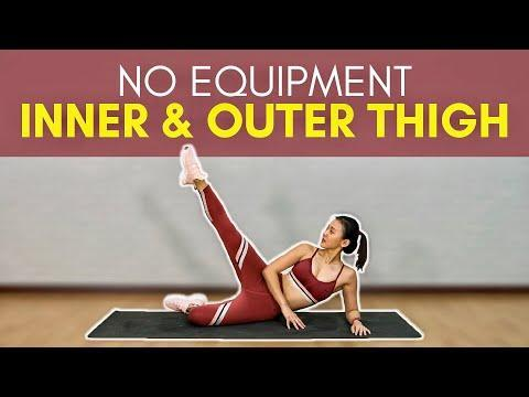 """<p>Work your inner and outer thigh muscles with this no-kit session, lead by PT Joanna. </p><ul><li><strong>How long? </strong>25 minutes</li><li><strong>Equipment: </strong>Yoga mat or soft surface</li></ul><p><a href=""""https://www.youtube.com/watch?v=91Cqgovjz7w&ab_channel=JoannaSohOfficial"""" rel=""""nofollow noopener"""" target=""""_blank"""" data-ylk=""""slk:See the original post on Youtube"""" class=""""link rapid-noclick-resp"""">See the original post on Youtube</a></p>"""