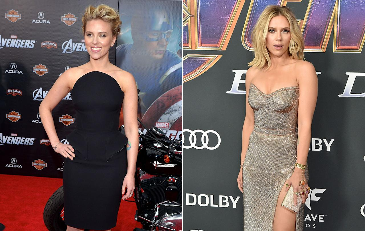 <p>Scarlett Johansson rocked some Infinity Gauntlet-inspired jewelry for the <i>Endgame</i> premiere. She's one of the few Marvel stars set to continue beyond <em>Endgame</em> in her own solo film. (Getty Images) </p>