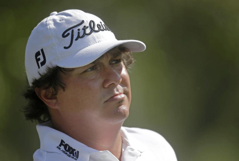 Jason Dufner watches his tee shot on the ninth hole during a practice round for The Players championship golf tournament at TPC Sawgrass in Ponte Vedra Beach, Fla., Wednesday, May 7, 2014. (AP Photo/Gerald Herbert)