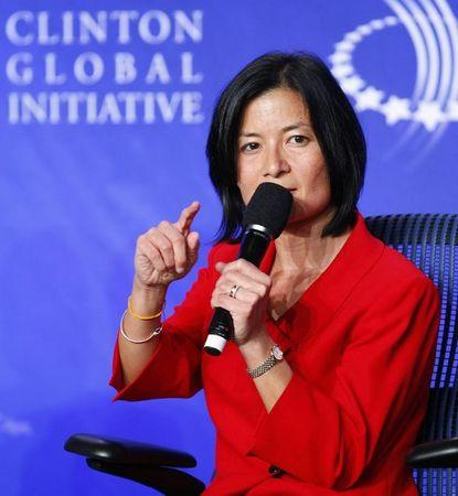 """Reeta Roy, President and Chief Executive Officer of The MasterCard Foundation, participates in a panel discussion titled """"Youth Unemployment: The Next Great Global Challenge,"""" at the Clinton Global Initiative, in New York, September 22, 2010.  REUTERS/Chip East"""