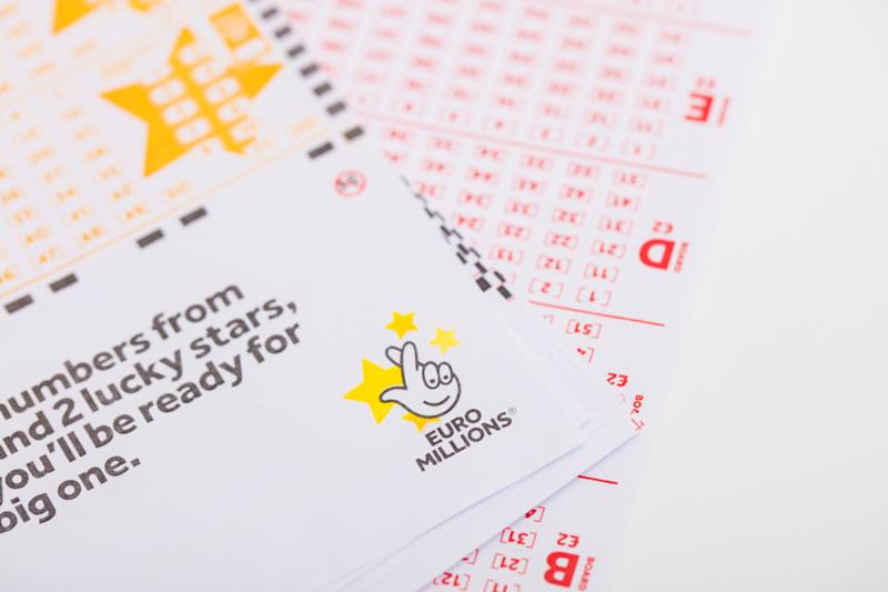 London, United Kingdom - August 30, 2016: An editorial stock photo go the Euro Millions lottery ticket. Isolated on a white background and photographed using the Canon EOS 5DSR and Canon 100mm f2.8 IS L lens.
