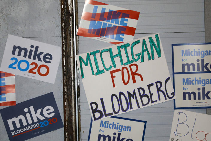 Signs in support of Mike Bloomberg