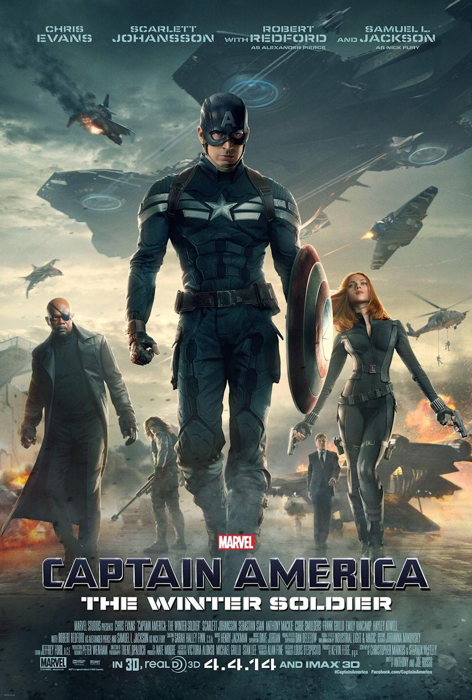 """<p>Chris Evans stars as Captain America once again in this sequel to <em>Captain America: The First Avenger. </em>In this film, he teams up with a fellow Avenger to battle an assassin called the Winter Soldier.</p><p><a class=""""link rapid-noclick-resp"""" href=""""https://www.amazon.com/Captain-America-Winter-Soldier-Theatrical/dp/B00NFQSXD2/ref=sr_1_2?tag=syn-yahoo-20&ascsubtag=%5Bartid%7C10070.g.36156094%5Bsrc%7Cyahoo-us"""" rel=""""nofollow noopener"""" target=""""_blank"""" data-ylk=""""slk:STREAM NOW"""">STREAM NOW</a><br> </p>"""