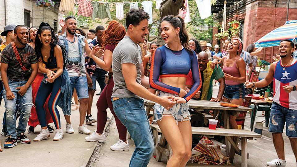 ANTHONY RAMOS as Usnavi and MELISSA BARRERA as Vanessa in Warner Bros. Pictures IN THE HEIGHTS, a Warner Bros. Pictures release.