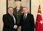 US Secretary of State Mike Pompeo met Turkish President Recep Tayyip Erdogan in Ankara with all sides wary of giving public details about the fate of Saudi journalist Jamal Khashoggi