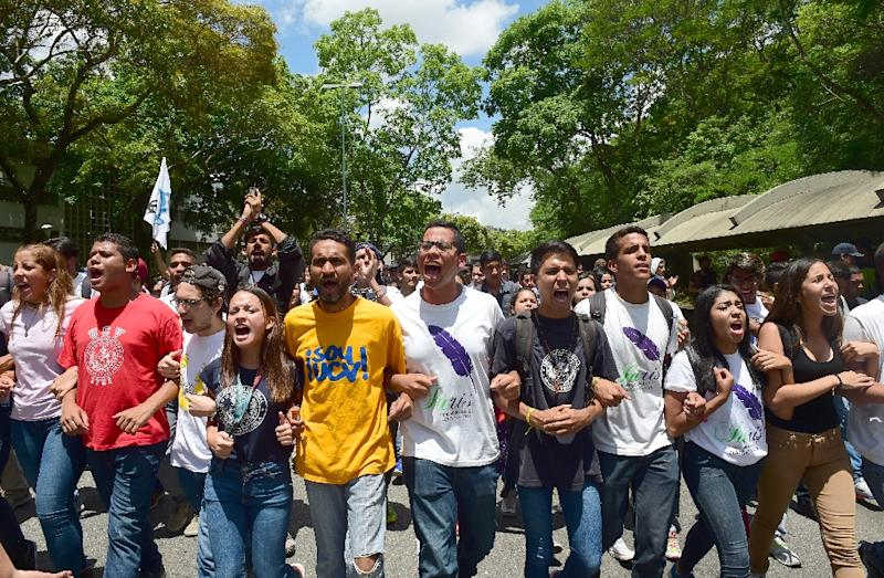 Students from the Central University of Venezuela march during a protest against the government in Caracas on May 4, 2017