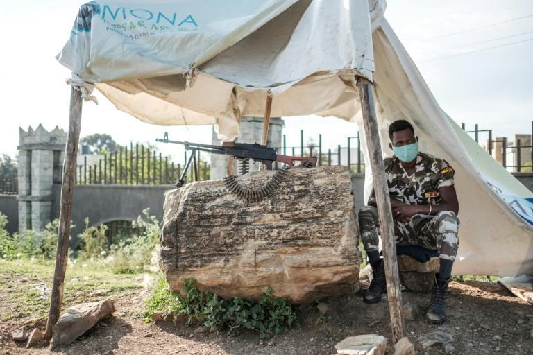 A member of Tigray police at a checkpoint in the outskirts of regional capital Mekele on September 9, 2020