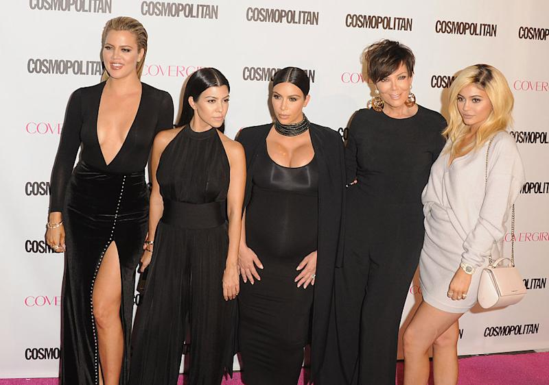 Khloé Kardashian, Kourtney Kardashian, Kim Kardashian West, Kris Jenner, and Kylie Jenner attend a Hollywood bash on Oct. 12, 2015. (Photo: Jon Kopaloff/FilmMagic)