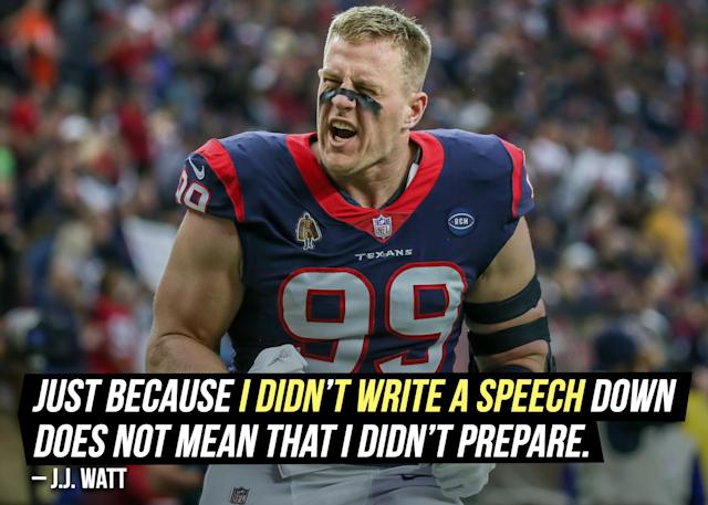 """It seems like <a href=""""https://sports.yahoo.com/jj-watt-houston-texans-gave-wisconsin-graduation-address-232553834.html"""" data-ylk=""""slk:J.J. Watt knew exactly what to say;outcm:mb_qualified_link;_E:mb_qualified_link"""" class=""""link rapid-noclick-resp yahoo-link"""">J.J. Watt knew exactly what to say</a> to the graduating class during his commencement speech at Wisconsin."""