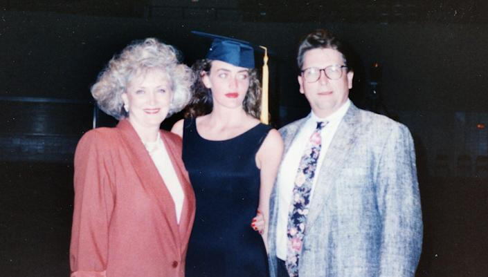 Heather Armstrong, center, with her mother and stepfather after her high school graduation. (Photo: Courtesy of Heather B. Armstrong)