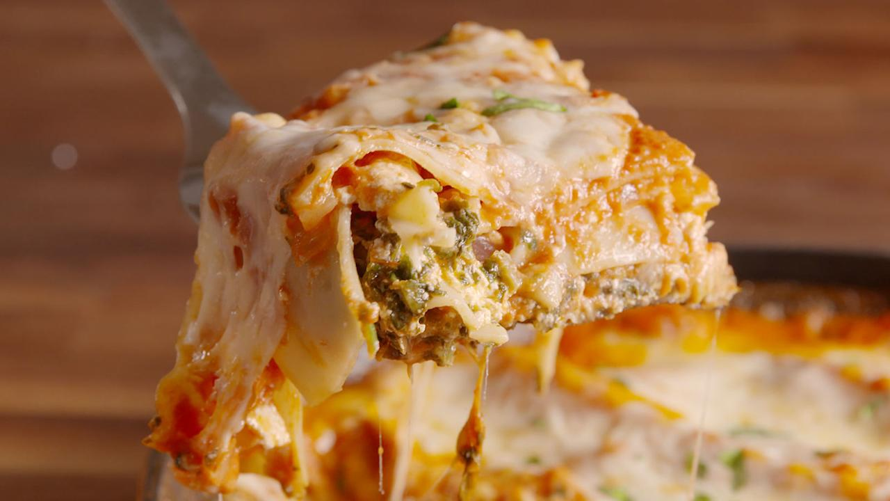 """<p>Layers of noodles, cheese, meat, and sauce? This may just be the best comfort food dish of all time. For more pasta ideas, try these <a rel=""""nofollow"""" href=""""http://www.delish.com/cooking/g1252/stuffed-shell-recipes/"""">stuffed shell recipes</a>.</p>"""
