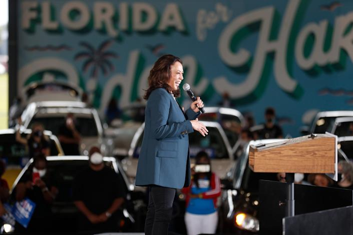 Democratic Vice Presidential nominee Kamala Harris (D-CA) speaks during an early voting mobilization event at the Central Florida Fairgrounds on October 19, 2020 in Orlando, Florida. President Donald Trump won Florida in the 2016 presidential election.