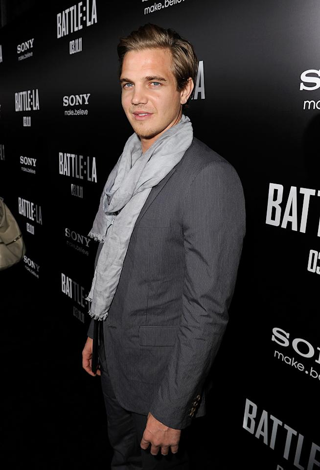 """<a href=""""http://movies.yahoo.com/movie/contributor/1809107482"""">Taylor Handley</a> at the Los Angeles premiere of <a href=""""http://movies.yahoo.com/movie/1810119633/info"""">Battle: Los Angeles</a> on March 8, 2011."""