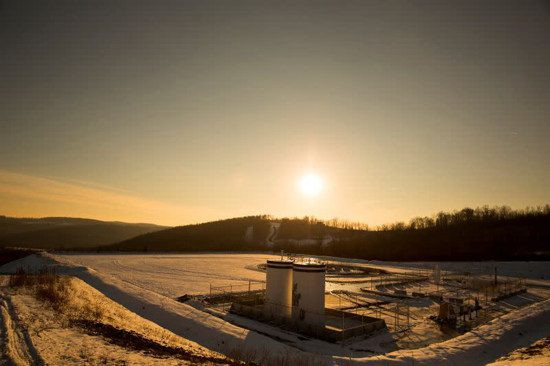 FILE PHOTO: A Chesapeake Energy natural gas well pad rests on the hill in Litchfield Township