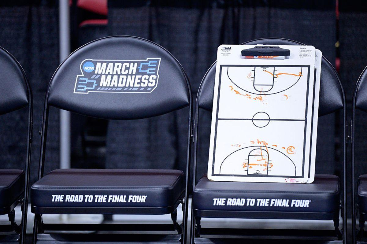 RALEIGH, NORTH CAROLINA - MARCH 17: A coaches clipboard is seen before the Butler Bulldogs take on the Texas Tech Red Raiders in the first round of the 2016 NCAA Men's Basketball Tournament at PNC Arena on March 17, 2016 in Raleigh, North Carolina. (Photo by Grant Halverson/Getty Images)