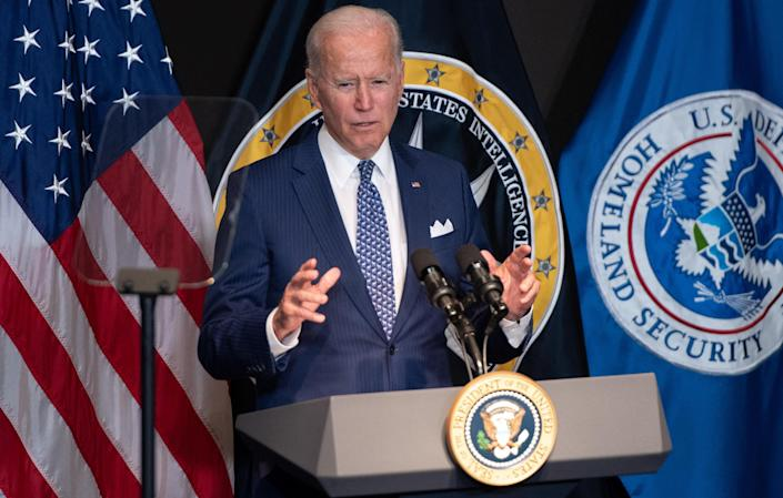 President Biden addresses the intelligence community workforce and its leadership while on a tour at the Office of the Director of National Intelligence in McLean, Virginia, on July 27, 2021. / Credit: SAUL LOEB / AFP via Getty Images