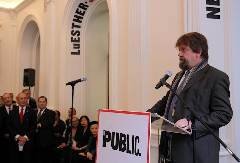 This Oct. 4, 2012, photo shows Oskar Eustis, artistic director of The Public Theater, during a celebration of the nonprofit's new four-year, $40 million face-lift in downtown New York. Waiting to speak is Mayor Michael Bloomberg. (AP Photo/Mark Kennedy)