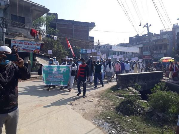 Jamiat Ulema-e-Nepal on Thursday organised a protest rally in Birgunj town of Nepal to condemn the genocide of Uyghur Muslims. Photo/ANI