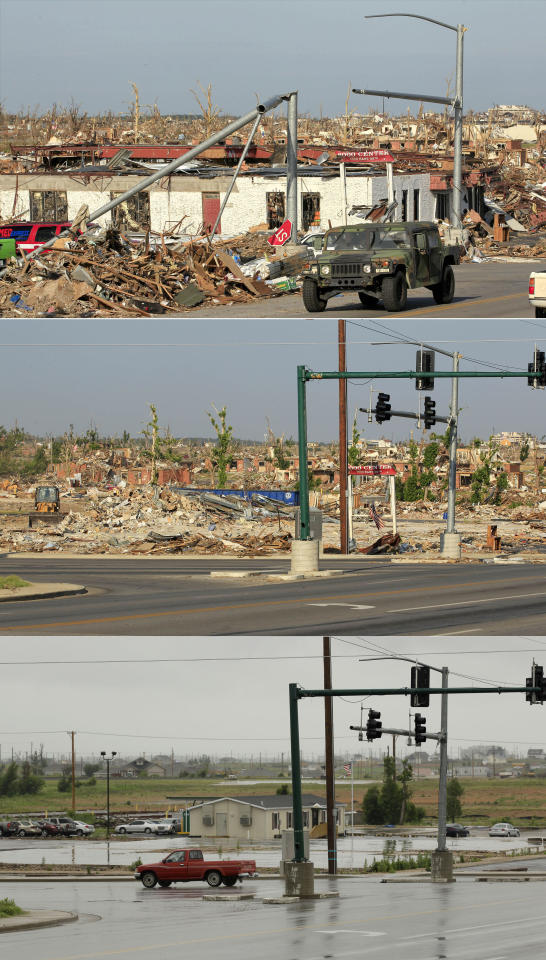 This three-photo combo shows a scene taken on May 27, 2011, top, July 21, 2011, center, and May 7, 2012, bottom, shows progress made in Joplin, Mo. in the year after an EF-5 tornado destroyed a large swath of the city and killed 161 people. (AP Photo/Charlie Riedel)