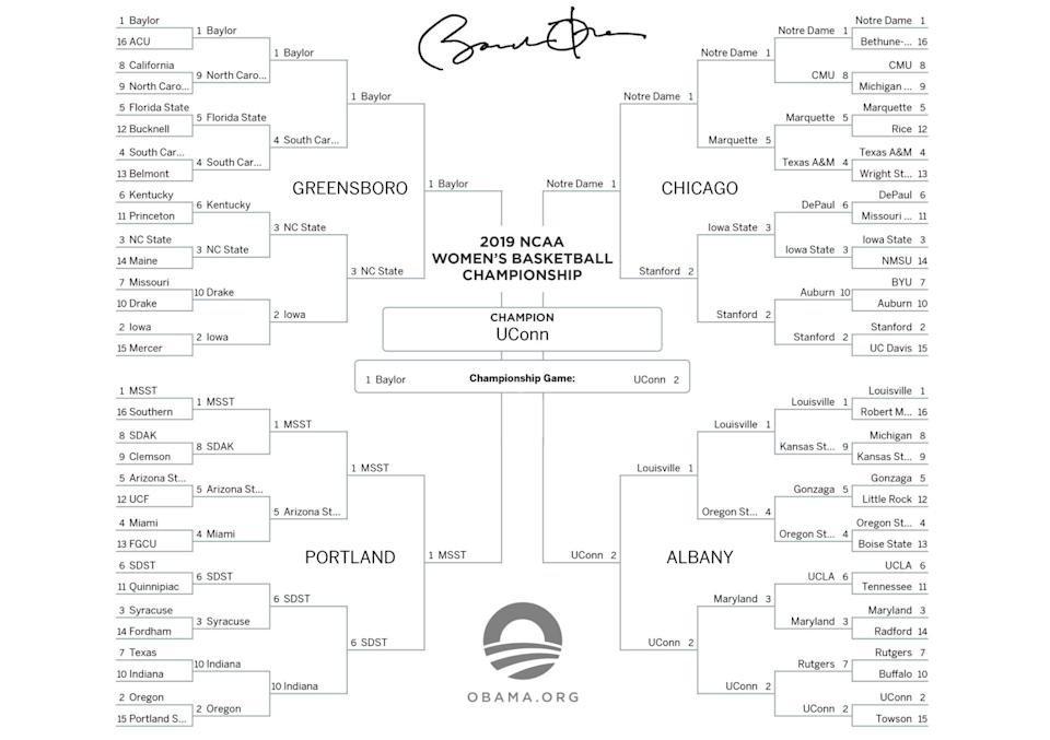 Barack Obama's 2019 women's NCAA tournament bracket. (Photo: Barack Obama)