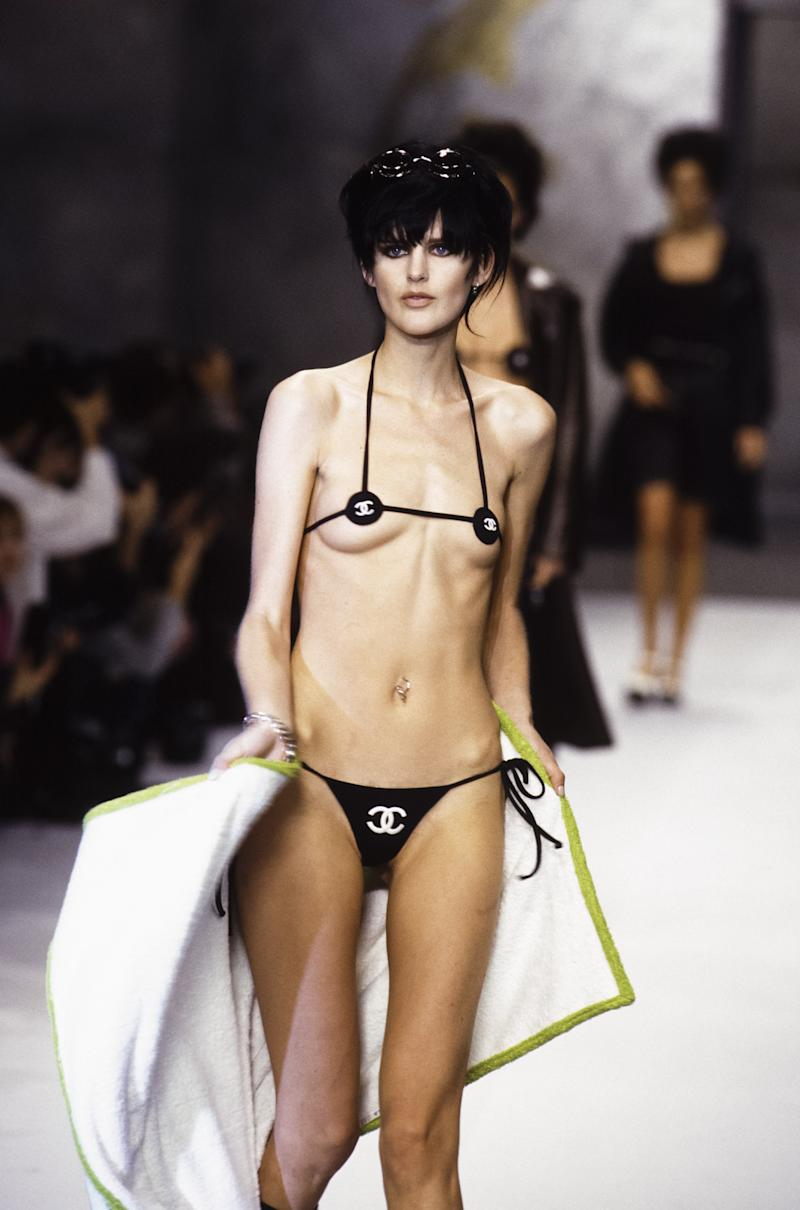 Say what you will about Chanel's fall/winter 1995 collection, but you can't deny that Lagerfeld didn't place emphasis on the house's logo. The most striking example of which was an itsy bitsy bikini worn by Stella Tennant, whose nipples were just barely obscured by a pair of interlocking C's.