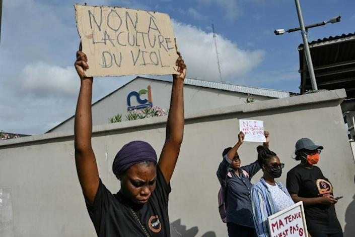'No to rape culture': women protest outside TV station (AFP/Sia KAMBOU)