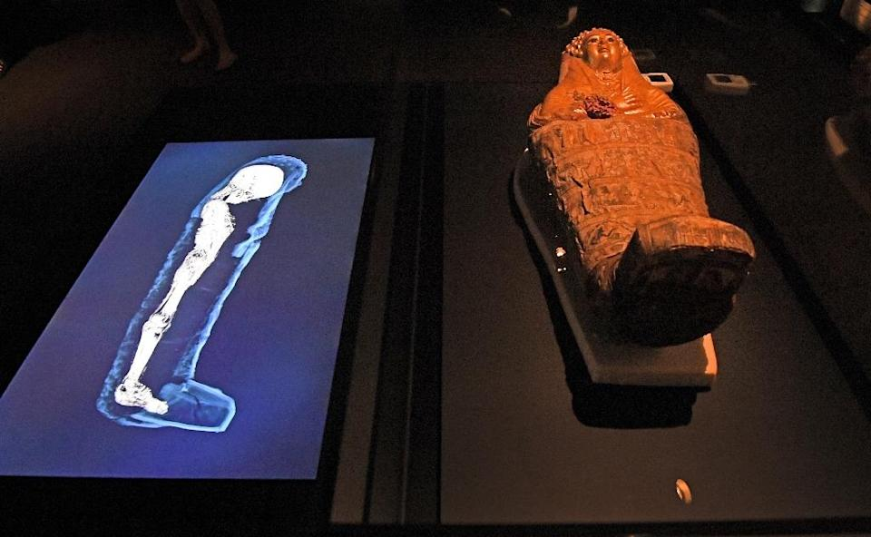 A 3D image of a CT scan of an Egyptian mummy is projected next to its sarcophagus (AFP Photo/WILLIAM WEST)
