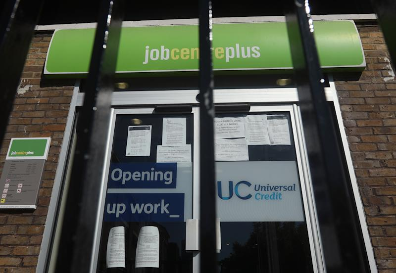 A Jobcentre Plus in London, after the introduction of measures to bring the country out of lockdown.