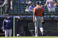 Houston Astros starting pitcher Jake Odorizzi walks to the dugout after being pulled from a game against the Seattle Mariners during the fifth inning of a baseball game, Sunday, April 18, 2021, in Seattle. (AP Photo/Ted S. Warren)