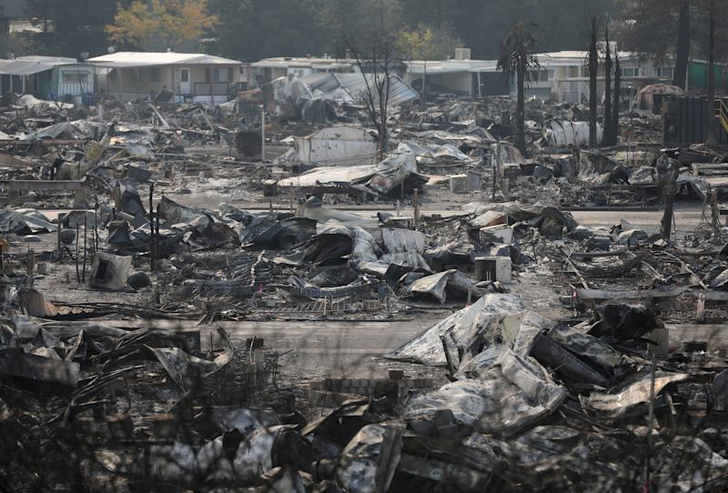 The remains of a mobile home in Santa Rosa, California, on Oct. 15, 2017. (Jim Urquhart / Reuters)