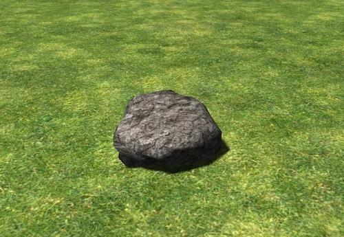 Rock on grass