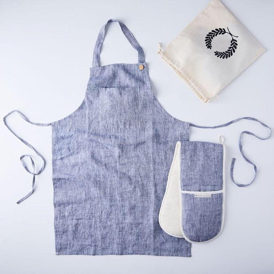 <p>My husband is the chef in our house, so I gifted him this <span>Food52 x Farmhouse Pottery Double Oven Mitt & Apron Gift Set</span> ($118) a few months ago. I love it because the oven mitt looks great draped over the oven handle, and he loves it for its more functional purposes.</p>