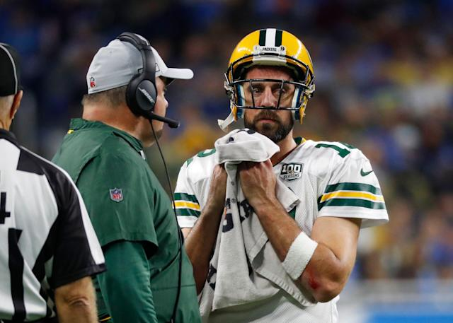"Aaron Rodgers went on the offensive Monday describing Bleacher Report's Packers exposé as ""ridiculous"" and ""false."" (AP)"