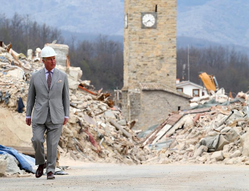 Prince Charles visits the Italian quake-hit town of Amatrice as part of his European tour aimed at strengthening relations with EU allies post Brexit