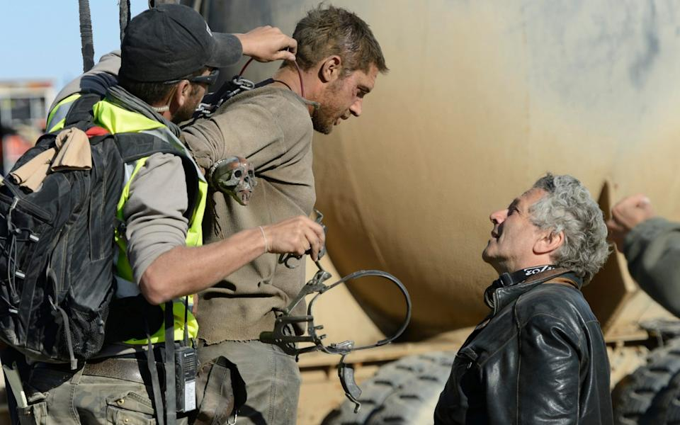 Tom Hardy and George Miller on the set of Mad Max: Fury Road