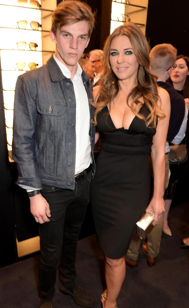 Miles Hurley and Elizabeth Hurley attend the DSquared2 opening of its London flagship on April 21, 2015. (Photo: David M. Benett/Getty Images)