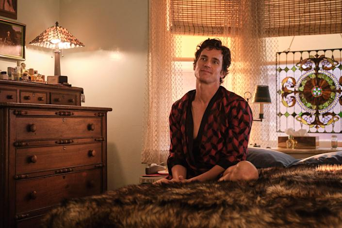 """Donald (Bomer) sits in the main bedroom, which features a dresser adorned with tonics, a comb set, and a """"lovely little vintage Pierre Cardin watch in a velvet box found on eBay,"""" Serdena says."""