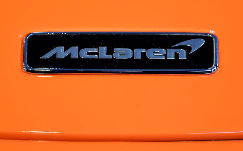 FILE PHOTO: The McLaren logo is seen on the McLaren 765LT at its launch at the McLaren headquarters in Woking