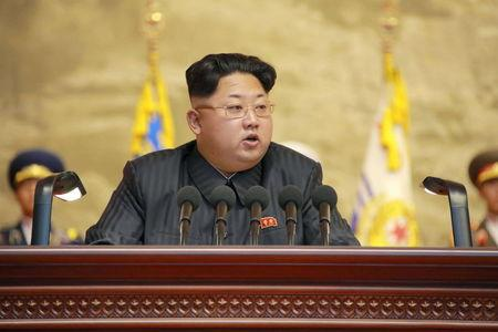North Korean leader Kim Jong Un speaks during the 4th National Conference of Veterans in this undated photo released by North Korea's Korean Central News Agency (KCNA) in Pyongyang