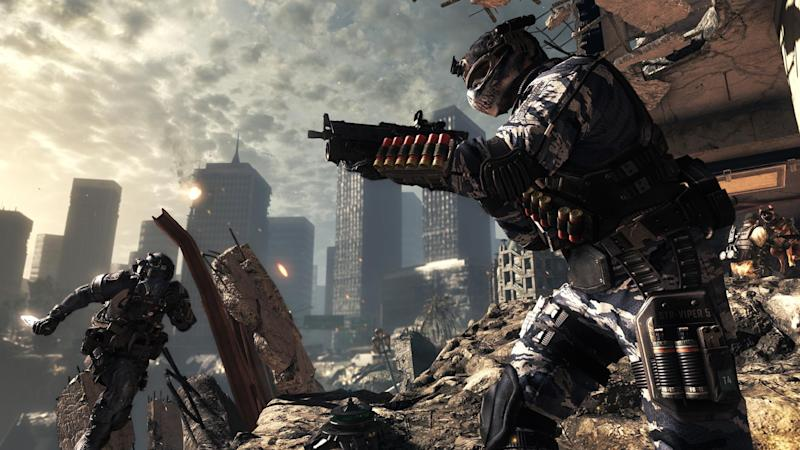 """This undated publicity photo released by Activision/Infinity Ward shows a scene from the video game, """"Call of Duty: Ghosts."""" """"Call of Duty: Ghosts"""" is summoning new ways to play the first-person shooter online. Female characters, interactive maps, canine sidekicks and a new mode called """"cranked"""" are among the new additions coming to the popular shoot-'em-up franchise's multiplayer mode when the game is released this fall. (AP Photo/Activision/Infinity Ward)"""