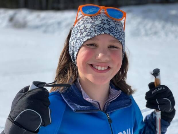 Early in April, Prince George's Maisie Hoehn, 9, achieved her goal of skiing 1,000 kilometres over the winter.  (Submitted by Tuppy Hoehn - image credit)