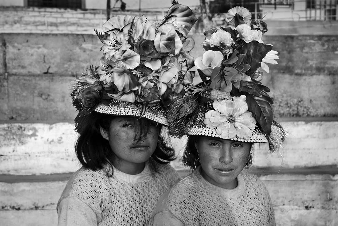 <p>Two girls from Huancavelica stand for a portrait during the International Festival of Street Theater in La Balanza (Fiteca), Comas. Lima, Peru, 2015. (© Sharon Castellanos/VII Mentor Program) </p>
