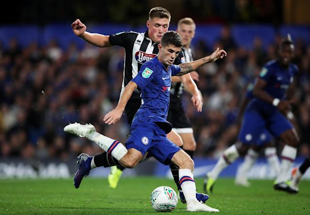 Christian Pulisic registered an assist in his first Chelsea appearance since August, Wednesday's 7-1 English League Cup win over Grimsby Town. (Chris Lee/Getty)