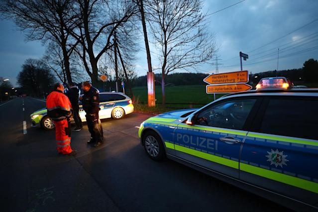 <p>Police near the Borussia Dortmund team hotel after an explosion before the game Reuters / Kai Pfaffenbach Livepic </p>