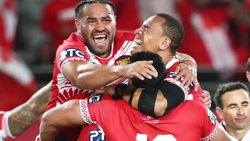 Tonga players, pictured celebrating after defeating Australia for the first time.