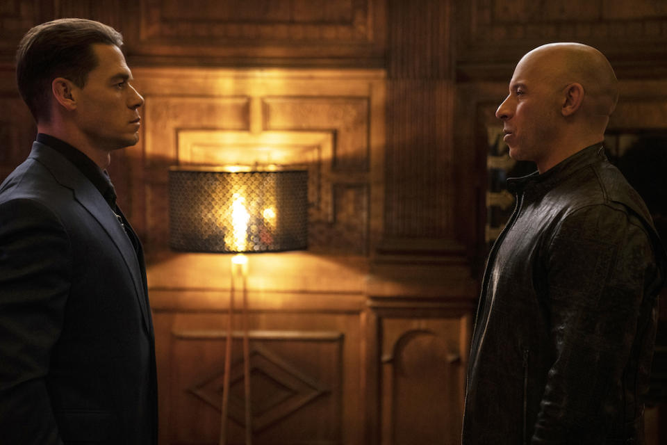 Dom (Vin Diesel) and Jakob (John Cena) in Fast & Furious 9. (PHOTO: United International Pictures)