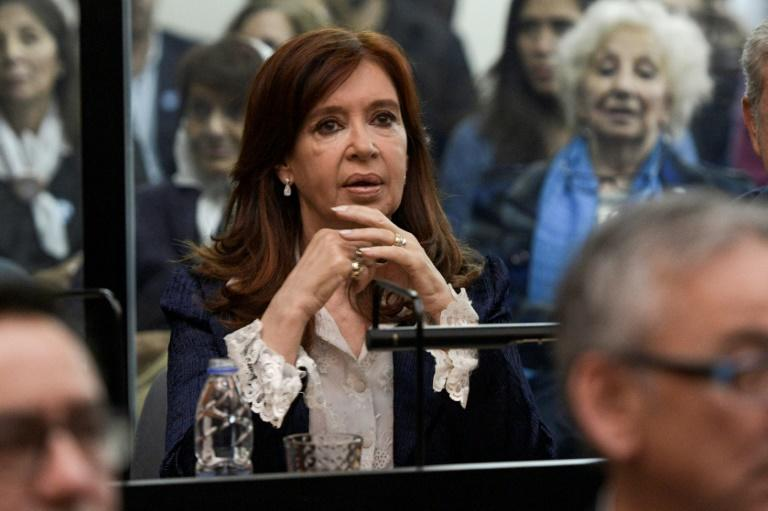 Ex-president Cristina Kirchner gestures as her corruption trial opens at the Comodoro Py courtroom in Buenos Aires, on May 21, 2019